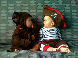 babies dressed up for halloween