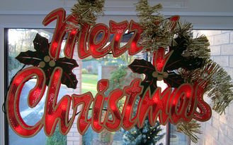 merry christmas sign in window