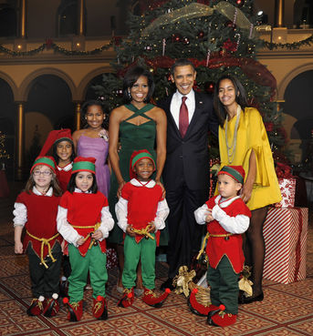 Michelle Obama Christmas Emerald Green Dress