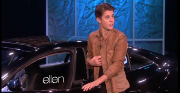 Justin Bieber with new fisker karma on Ellen