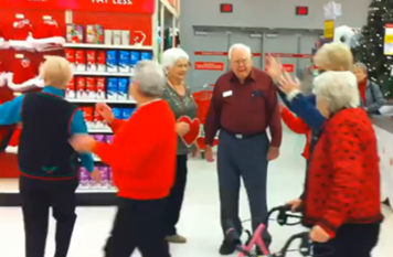senior citizen flash mob