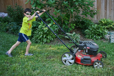 boy doing chores