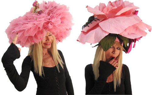 Outrageous Pink Derby Hats Have Fun With Barbie Blooms