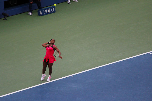 Serena Williams red tennis outfit