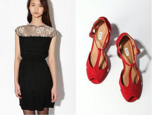 black lace dress red suede heels